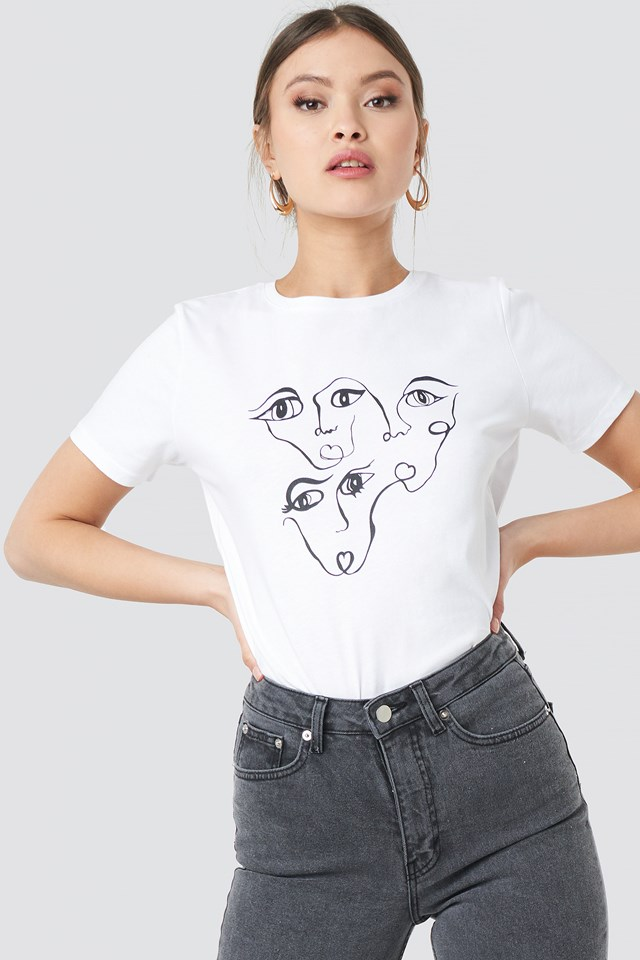 Face Printed Tee White