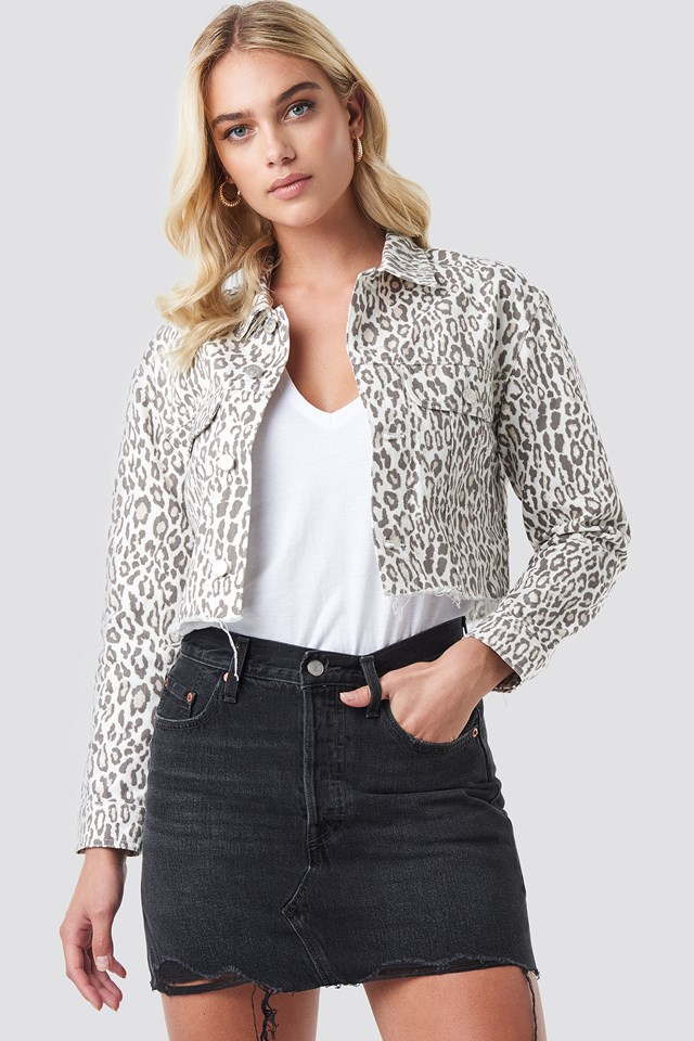 Faded Leo Denim Jacket Leopard