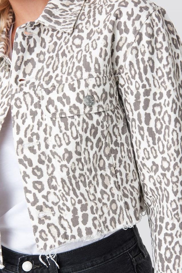 Faded Leo Denim Jacket Leopard