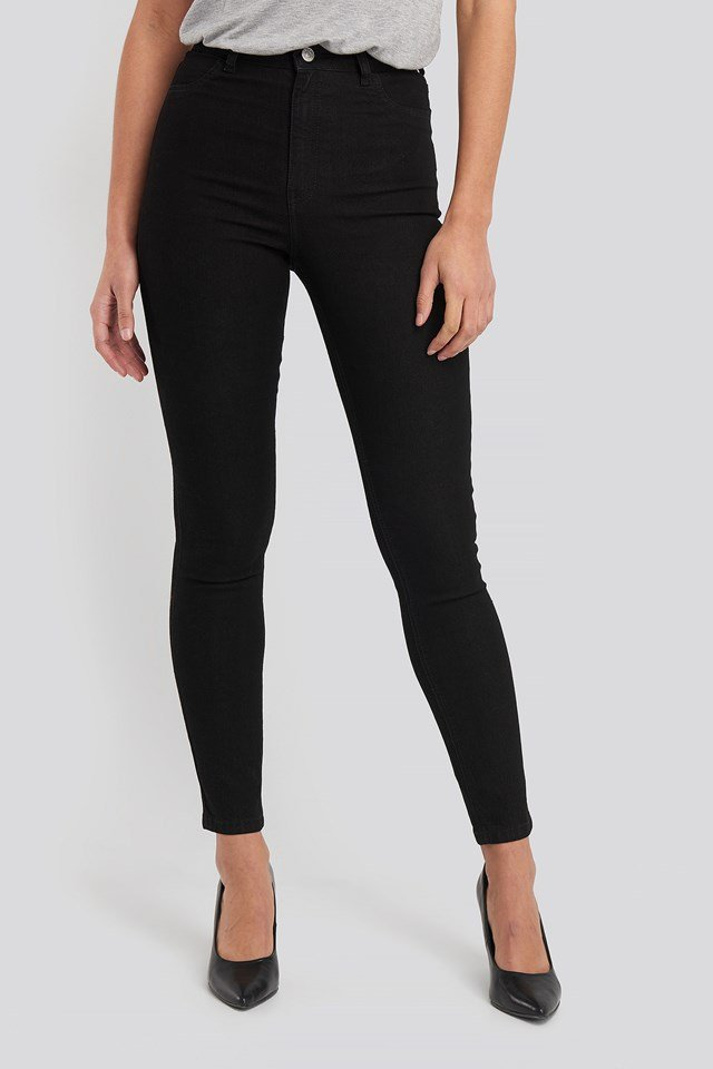Fake Pocket Skinny Jeans Black