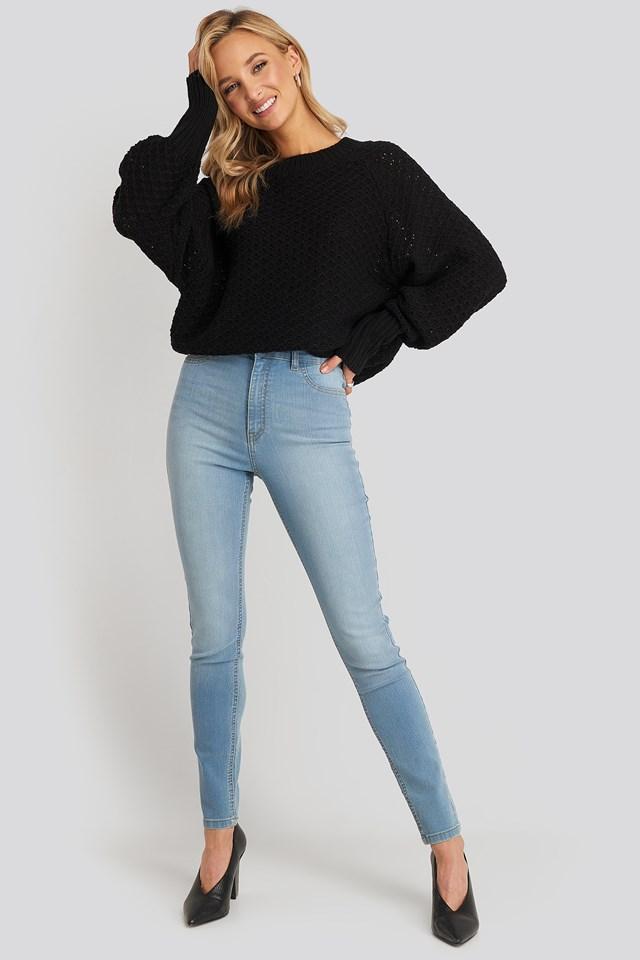 Fake Pocket Skinny Jeans Light Blue