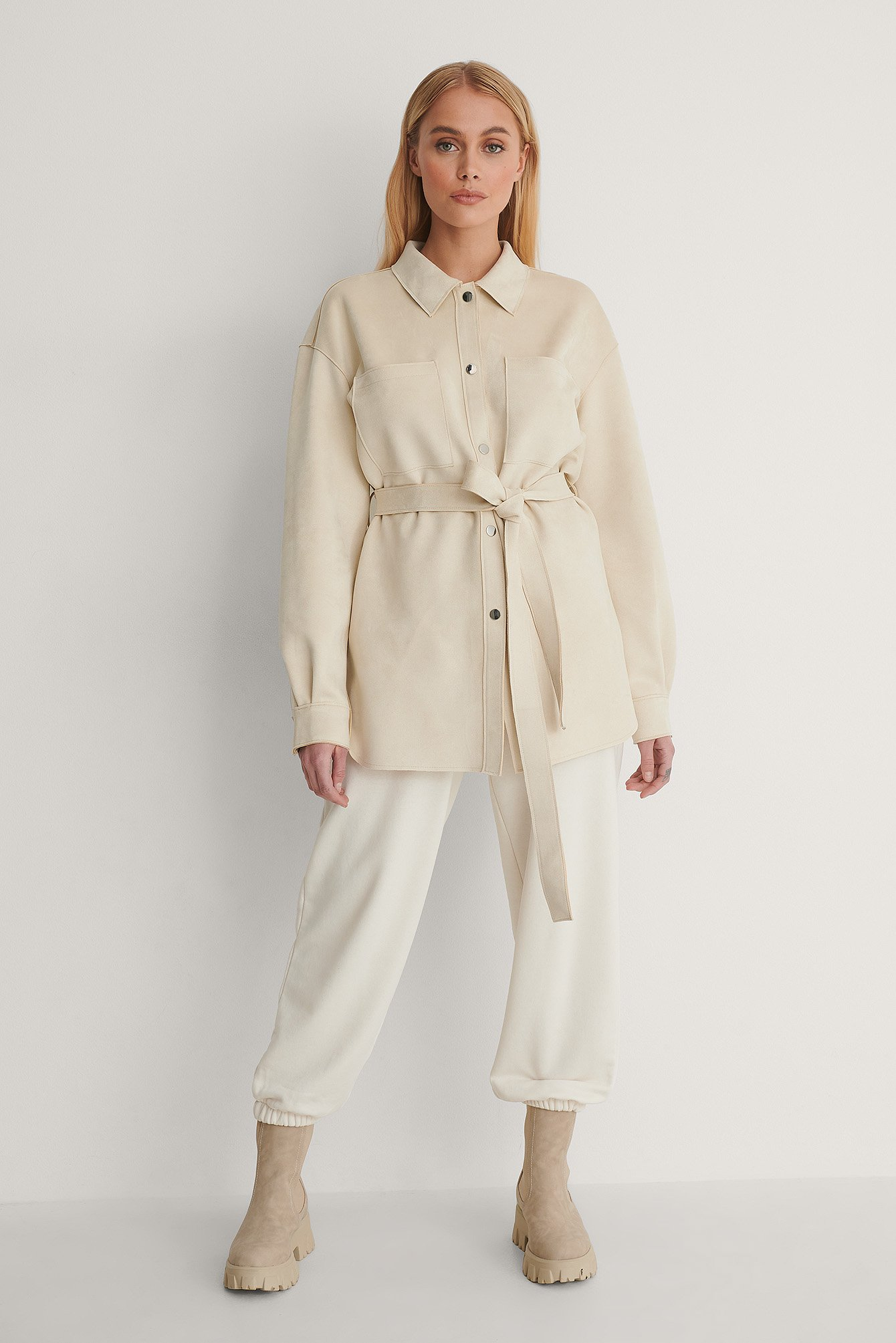 Light Beige Fake Suede Belted Overshirt
