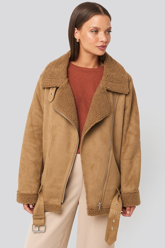 Fake Suede Bonded Aviator Jacket Brown