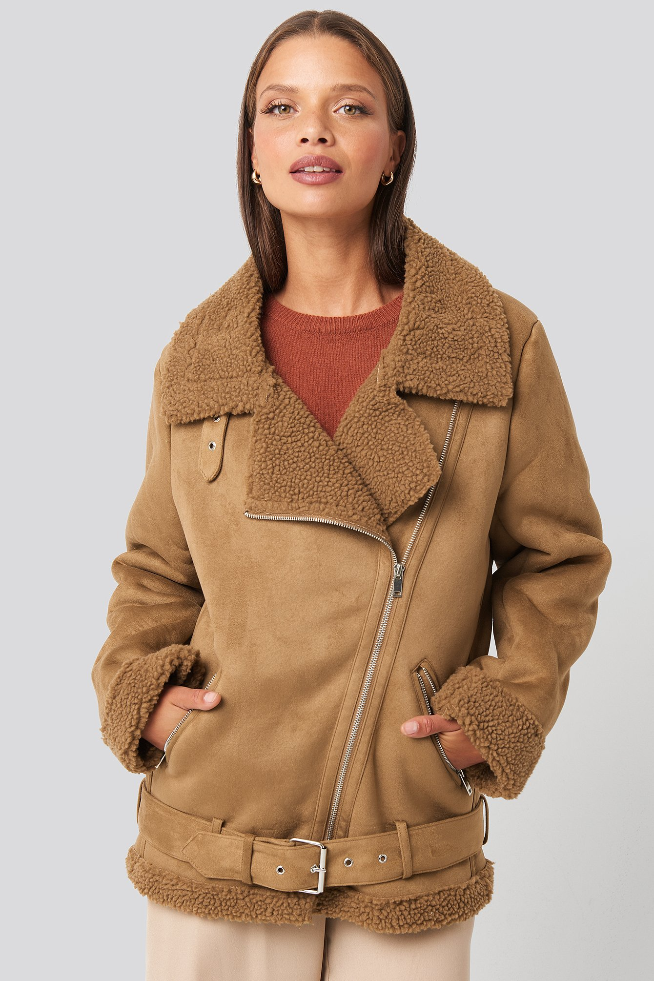 na-kd trend -  Fake Suede Bonded Aviator Jacket - Brown