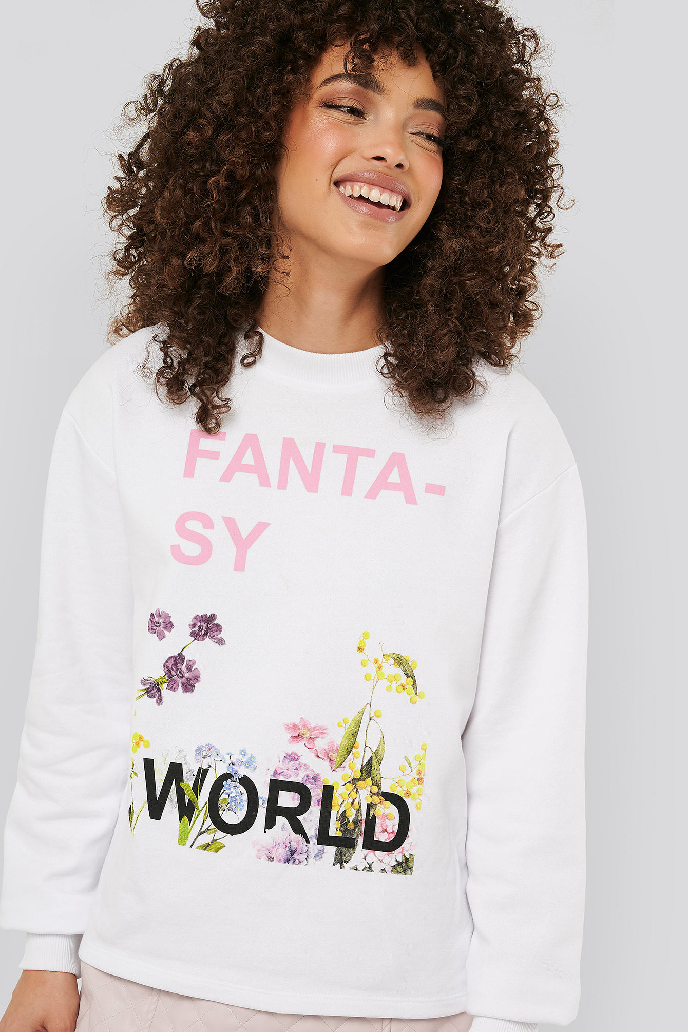 NA-KD Trend Fantasy Printed Sweater - White