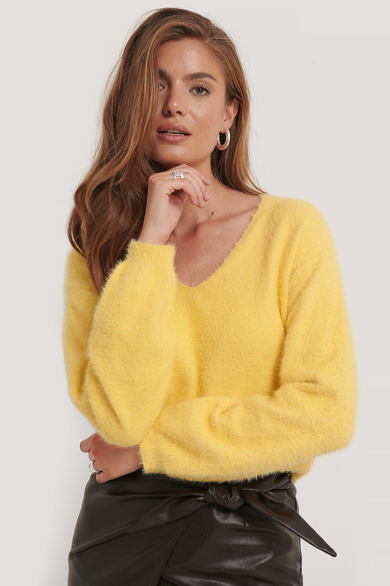 na-kd -  Federgarn Strickpullover - Yellow