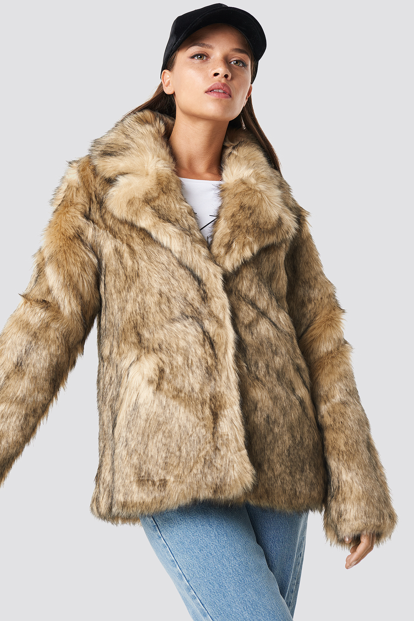na-kd trend -  Faux Fur Collar Jacket - Brown