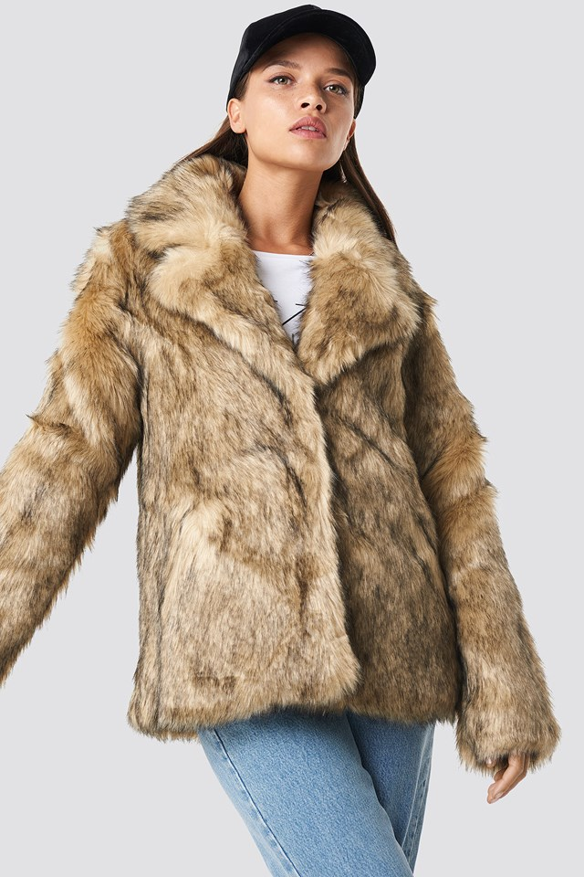 Faux Fur Collar Jacket NA-KD Trend