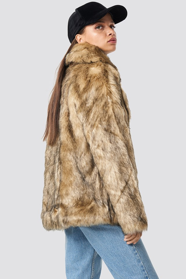 Faux Fur Collar Jacket Brown