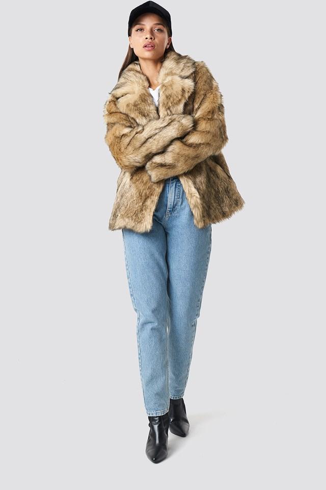 Faux Fur Collar Jacket Brown