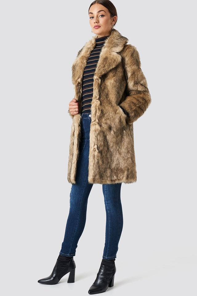 Faux Fur Collar Long Jacket Brown