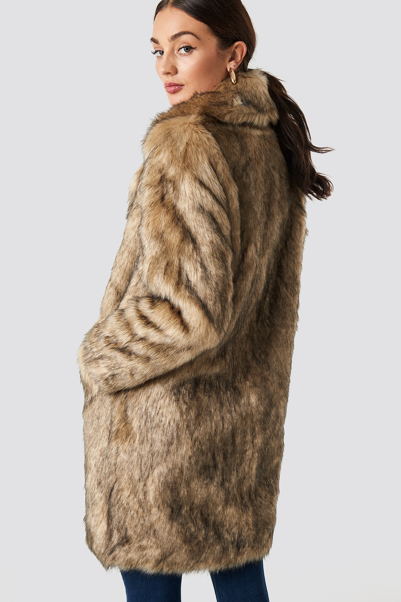 Faux Fur Collar Long Jacket NA-KD.COM