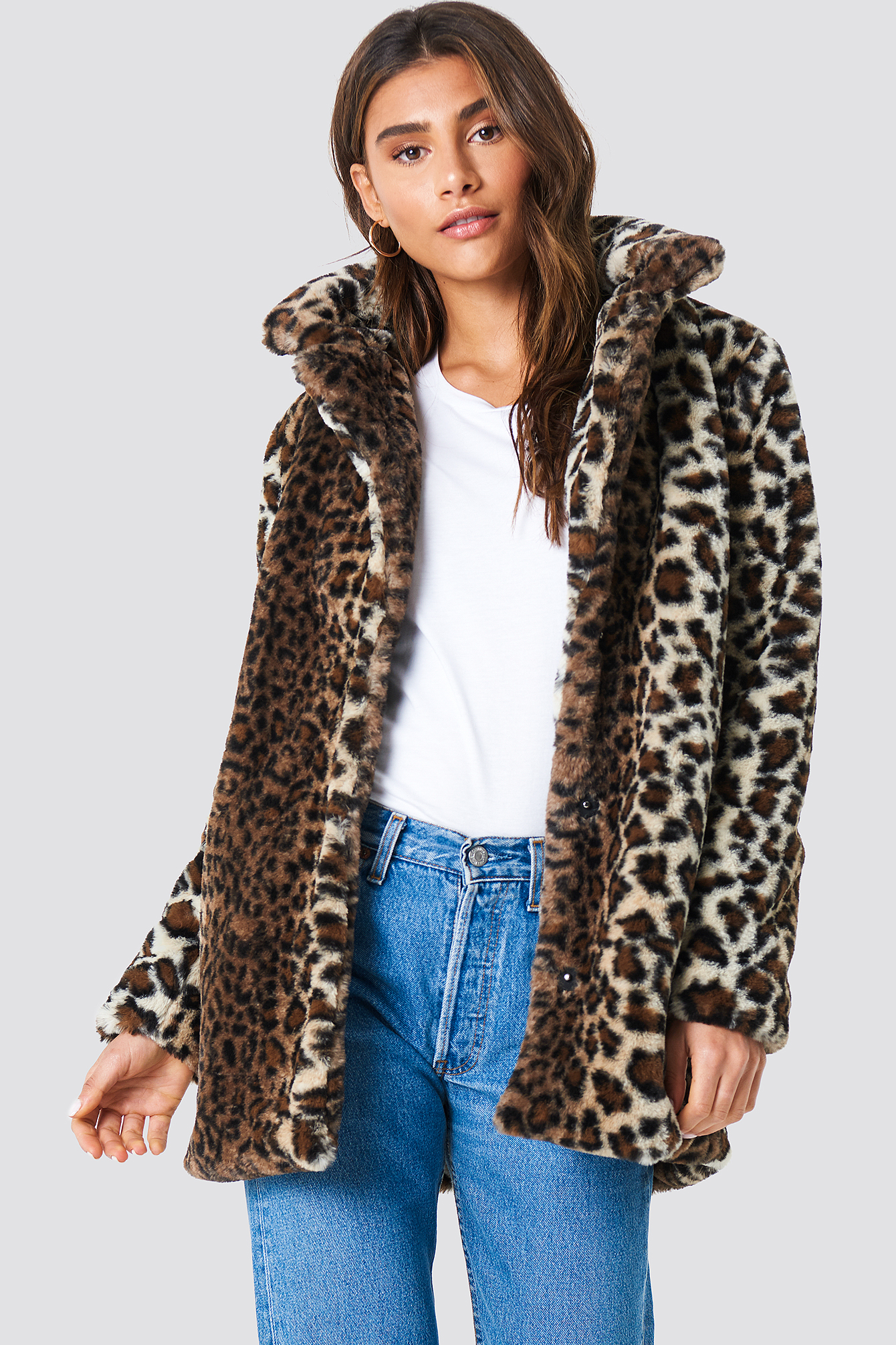 na-kd trend -  Faux Fur Leo Jacket - Brown