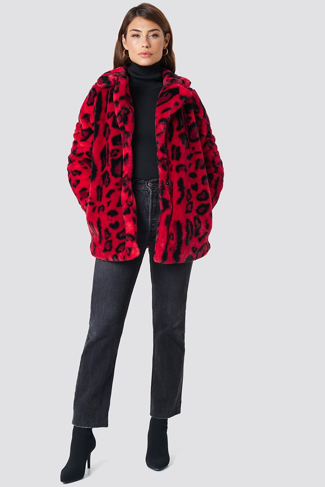 Faux Fur Leo Jacket Red Leopard