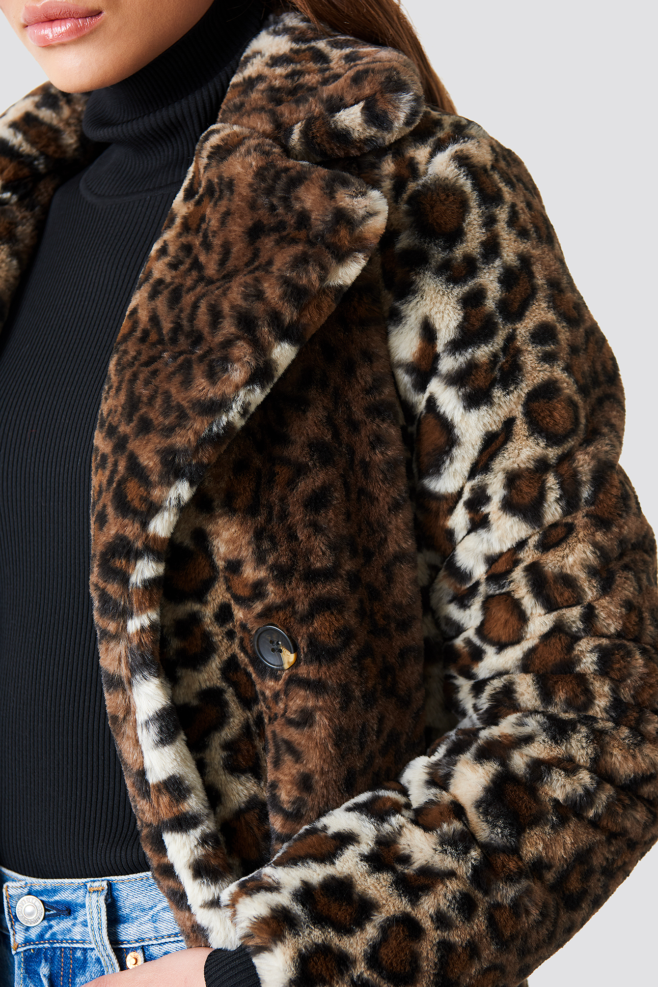 na-kd trend -  Faux Fur Leo Coat - Multicolor