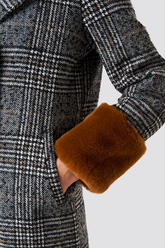 Faux Fur Sleeve Plaid Coat Checked