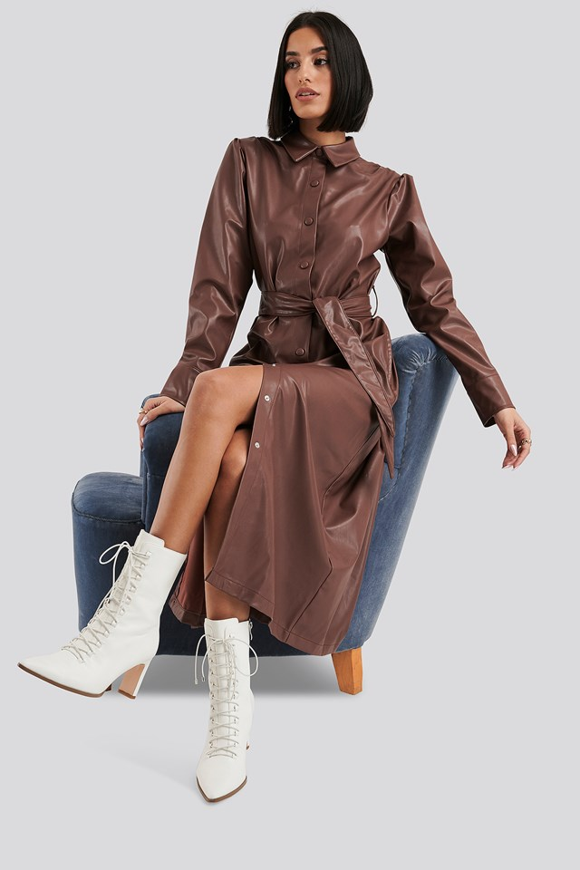 Faux Leather Belted Shirt Midi Dress Brown