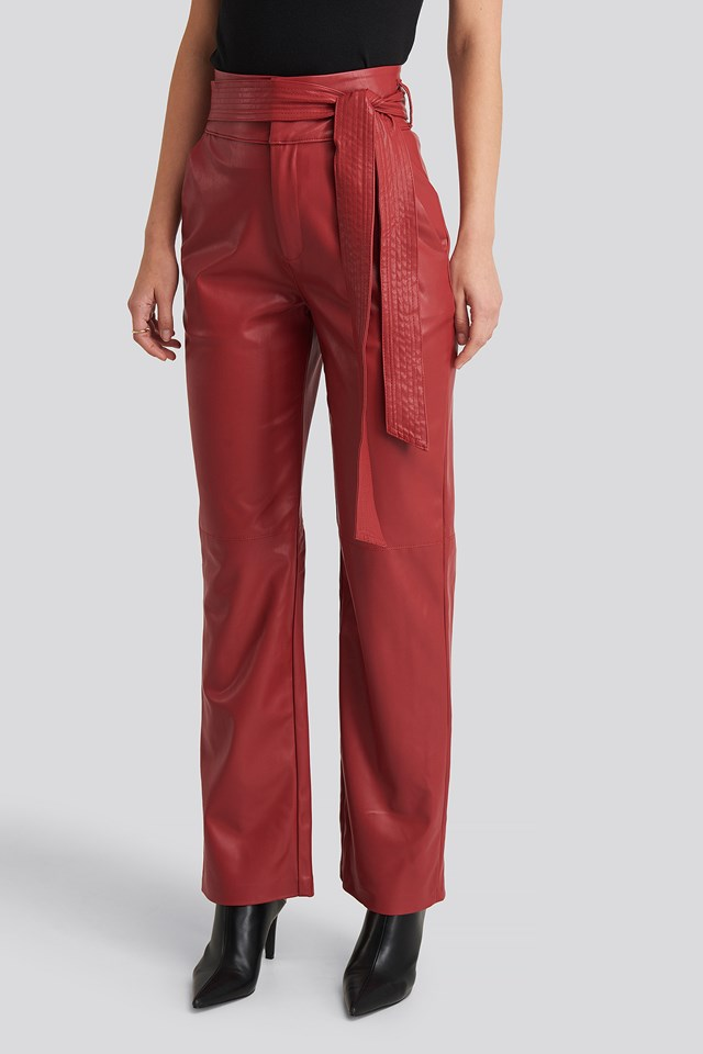 Faux Leather Belted Straight Leg Pants Red