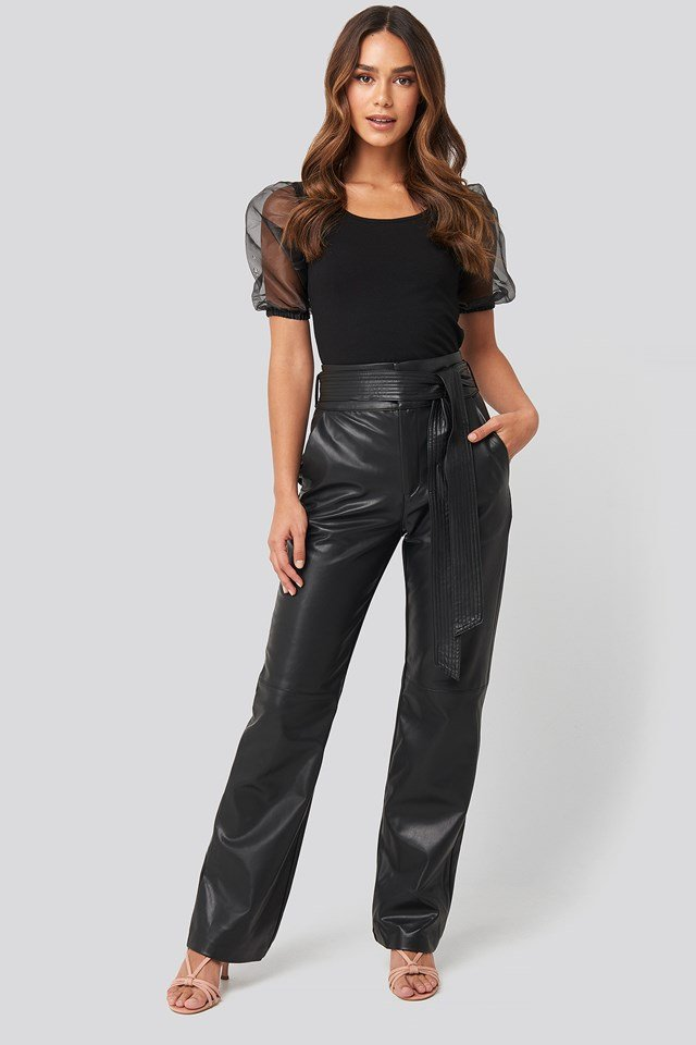 Faux Leather Belted Straight Leg Pants Deep Black