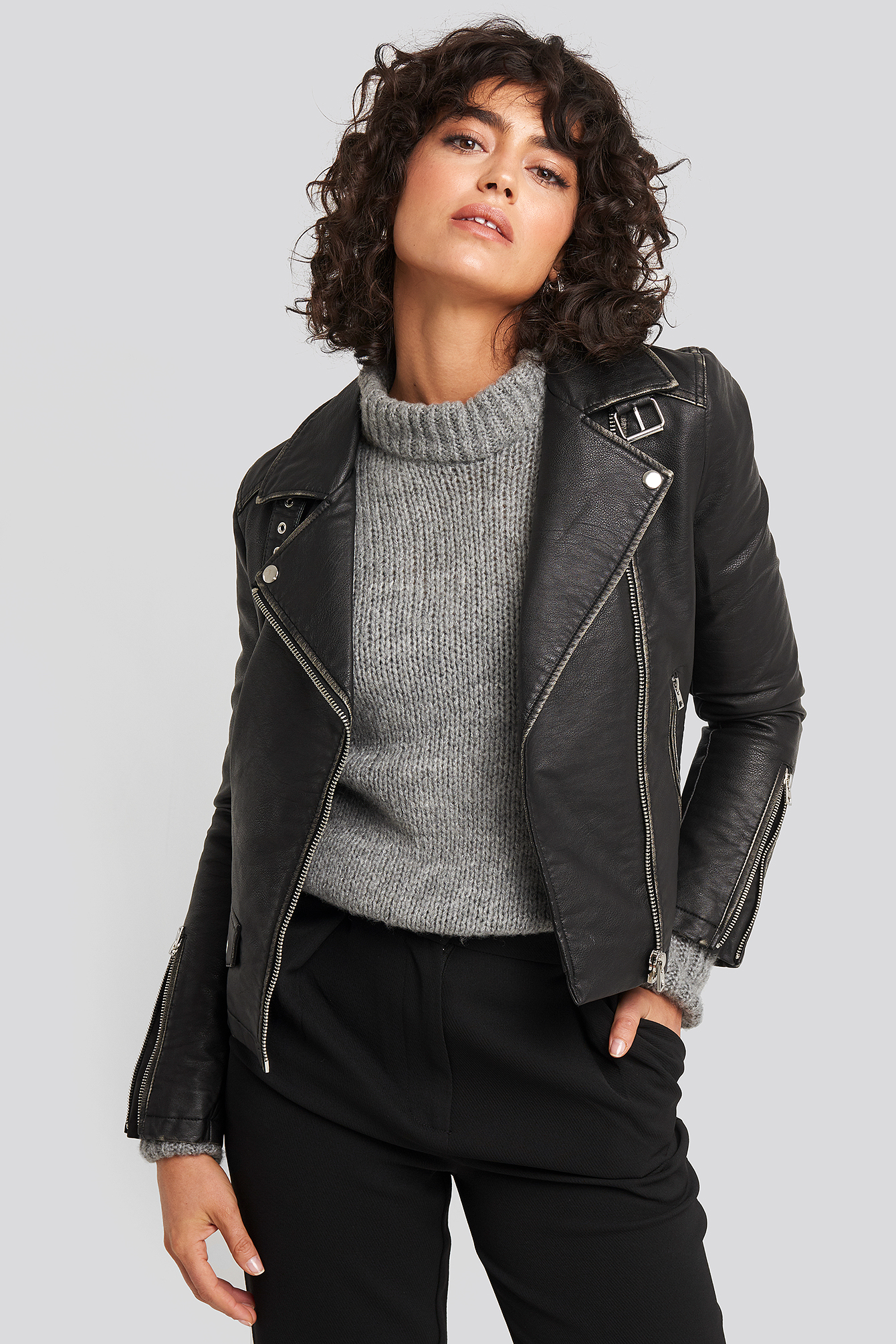 na-kd trend -  Faux Leather Biker Jacket - Black