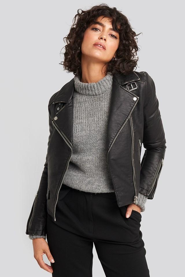 Faux Leather Biker Jacket Black