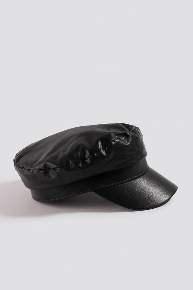 Faux Leather Captains Cap Black