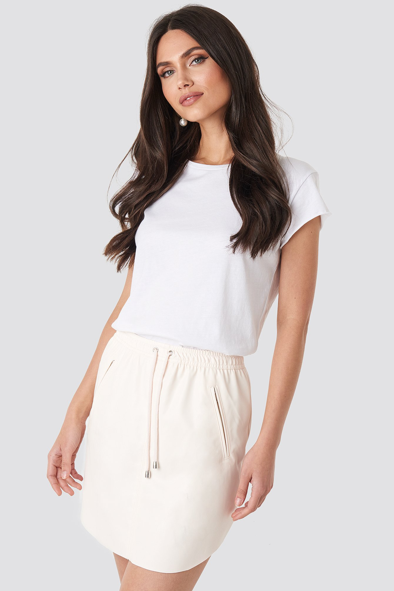 NA-KD Faux Leather Casual Skirt - Pink