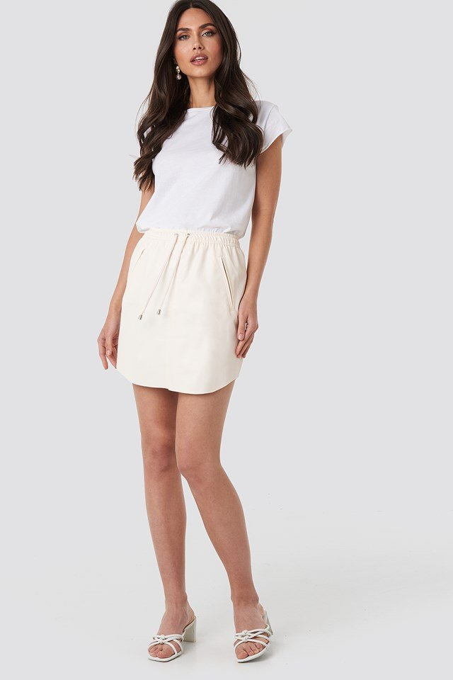 Faux Leather Casual Skirt Beige