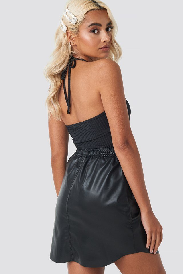 Faux Leather Casual Skirt Black