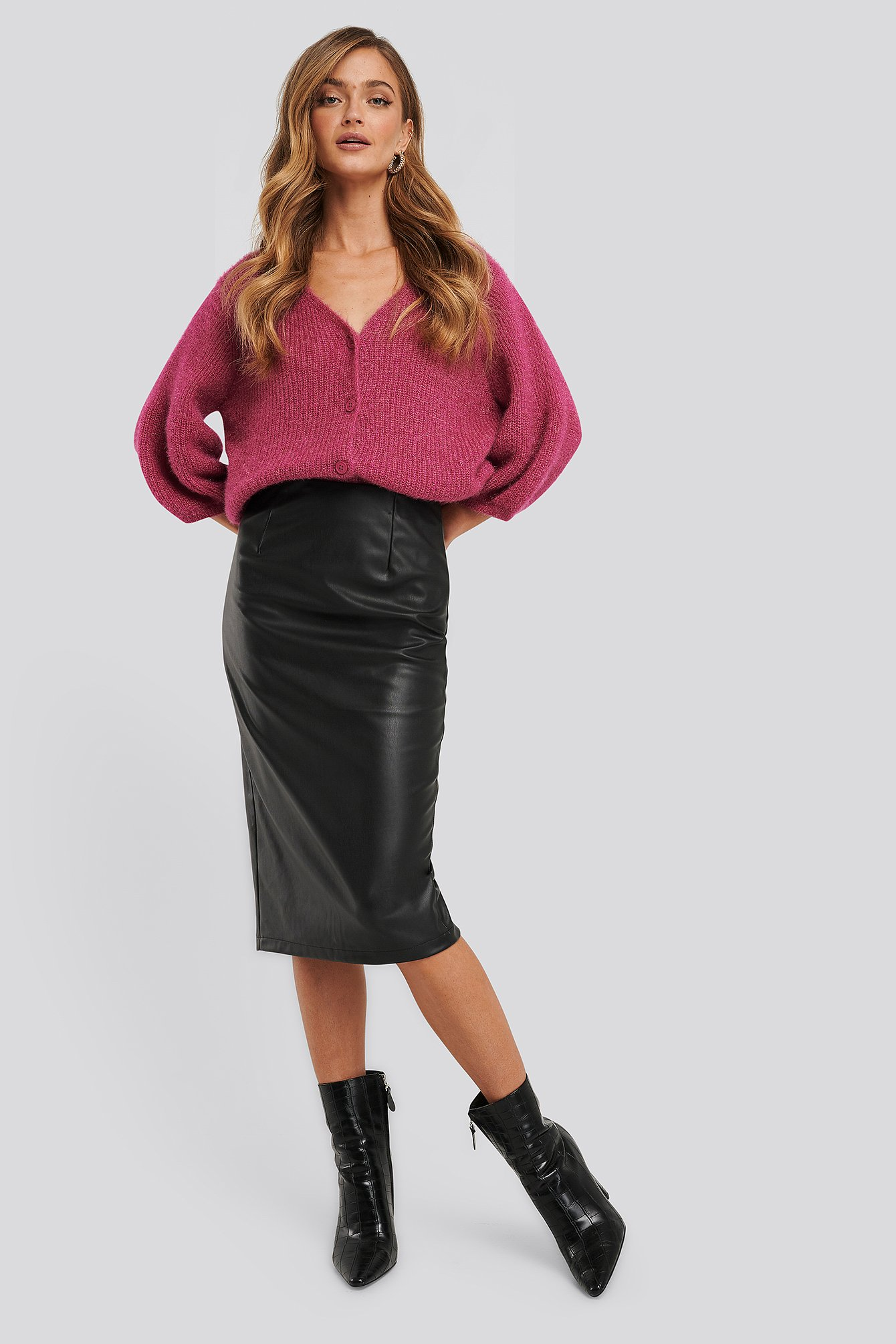 na-kd trend -  Faux Leather Midi Skirt - Black