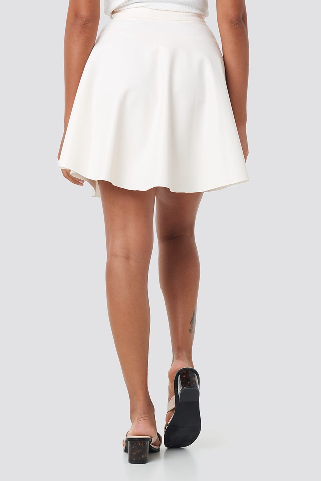 Faux Leather Mini Skirt Beige