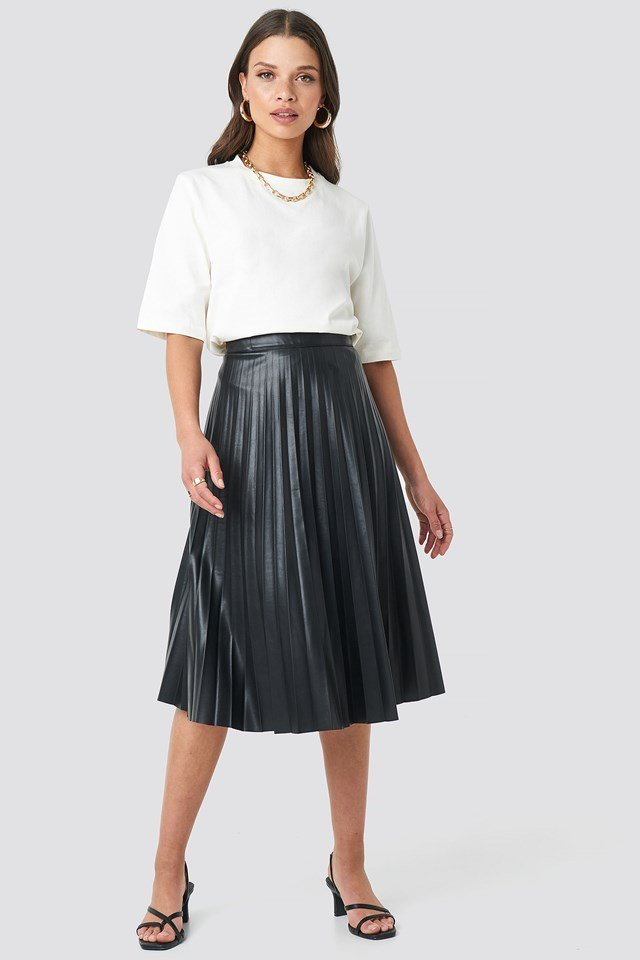 Faux Leather Pleated Midi Skirt NA-KD.COM