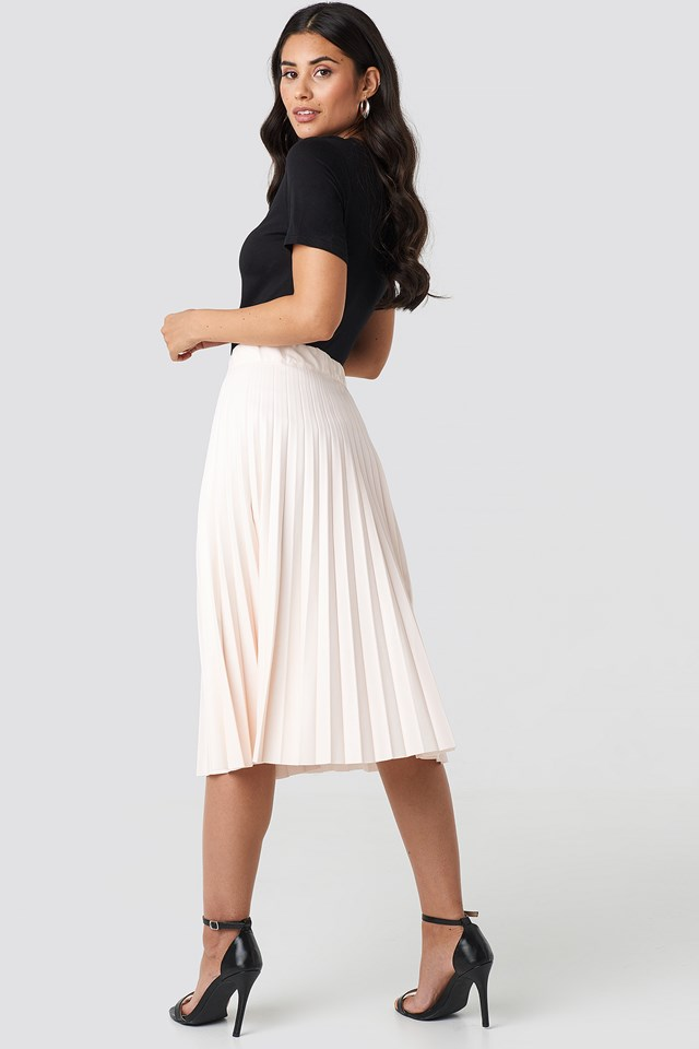 Faux Leather Pleated Midi Skirt Beige