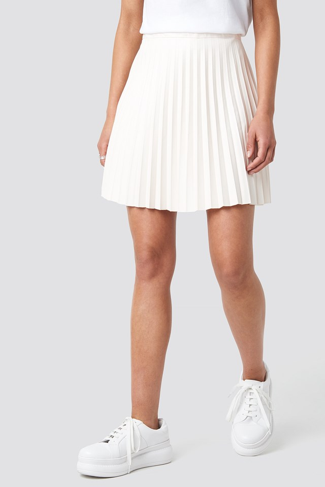 Faux Leather Pleated Mini Skirt Beige