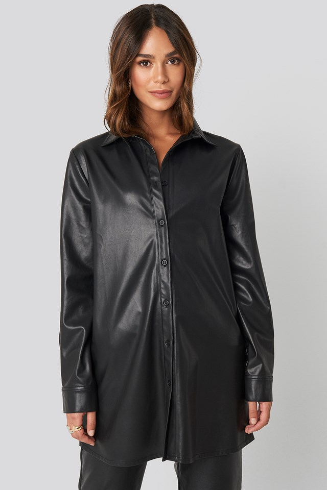 Faux Leather Shirt Black