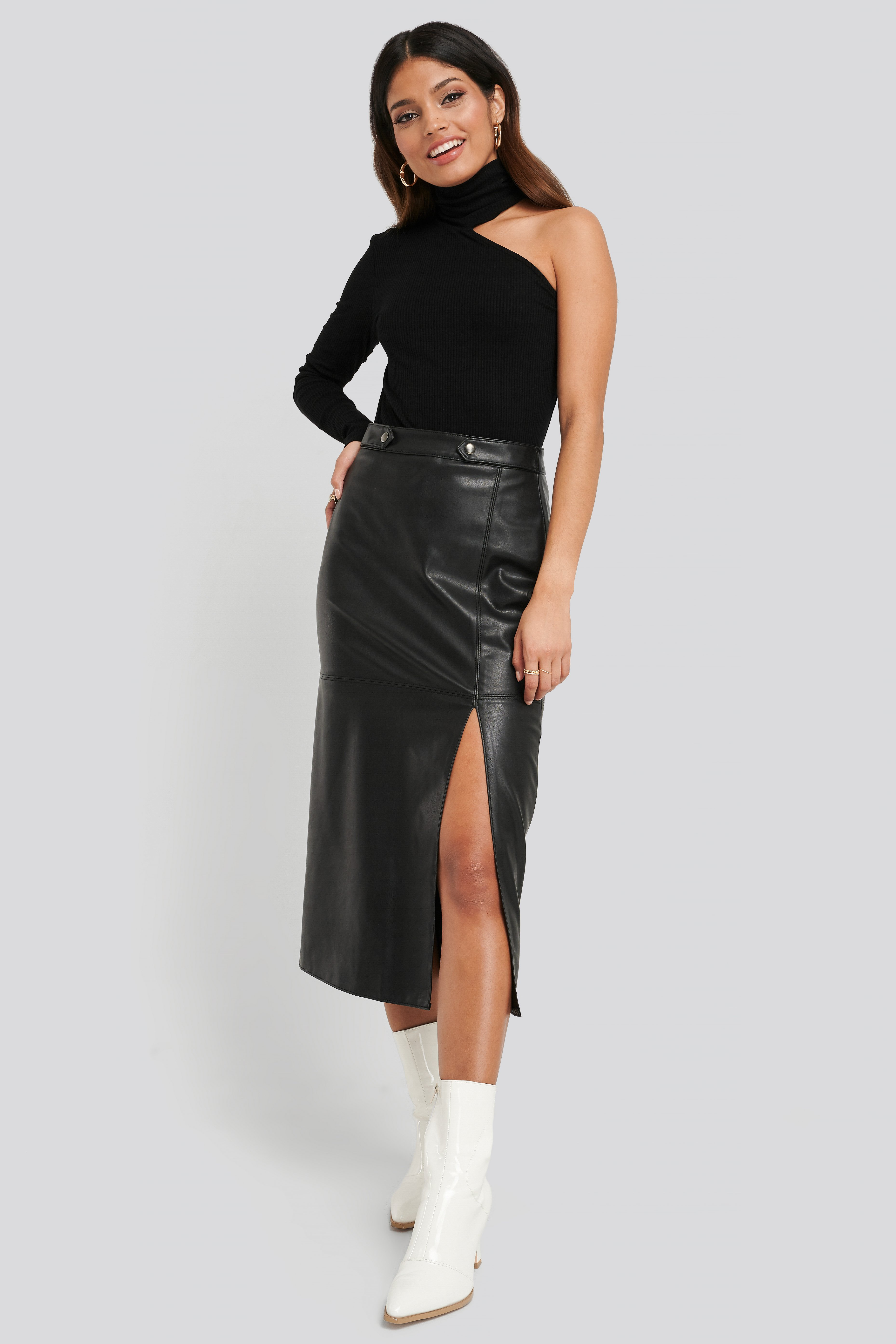 Black Faux Leather Side Slit Skirt
