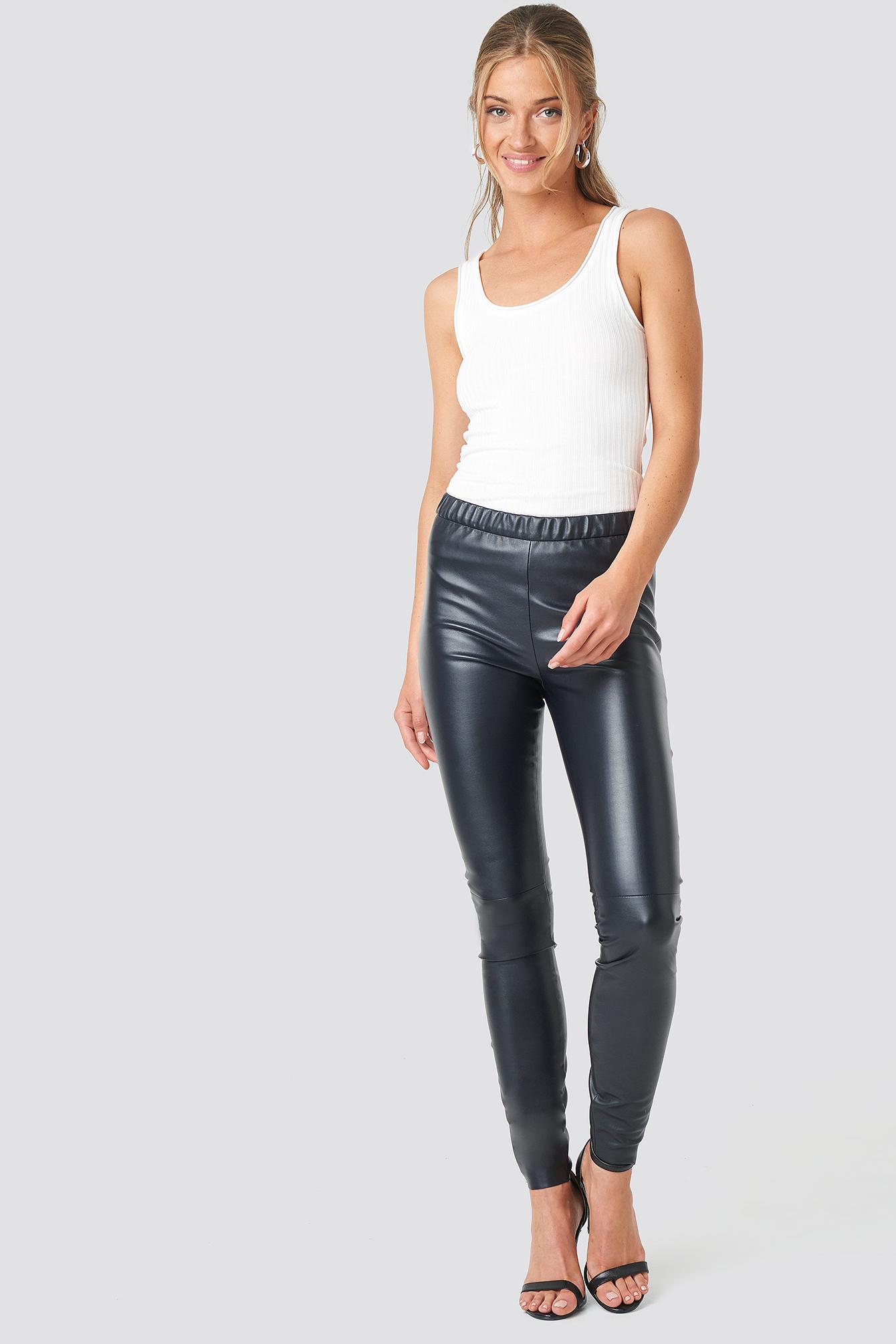 na-kd trend -  Faux Leather Skinny Leggings - Black