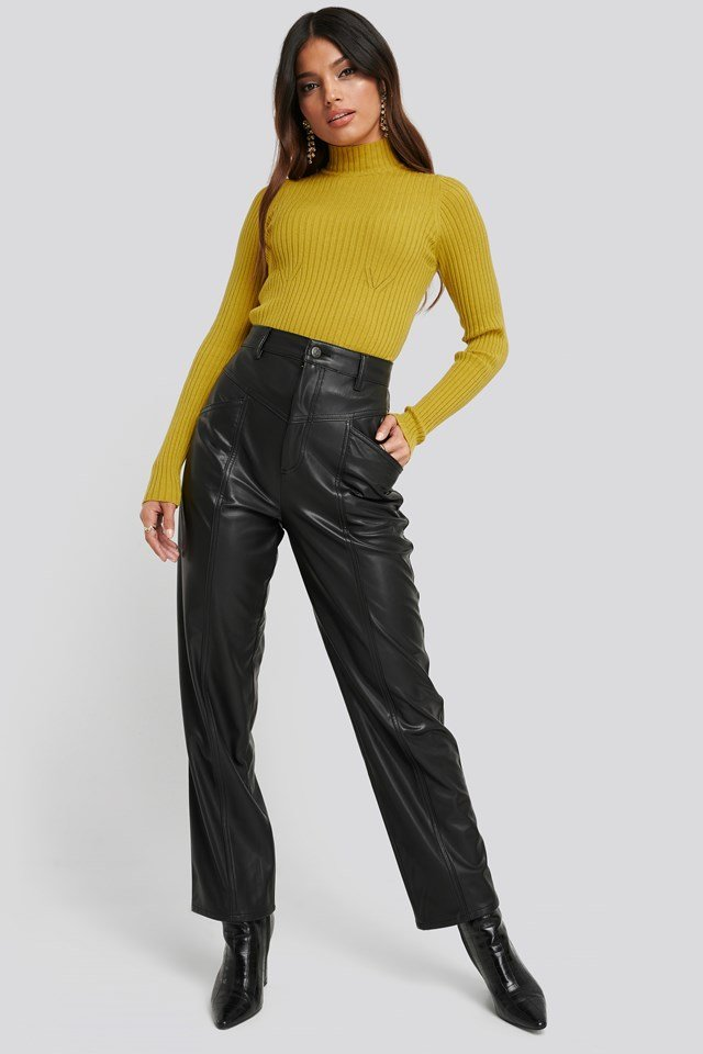 Faux Leather Straight Leg Pants Black