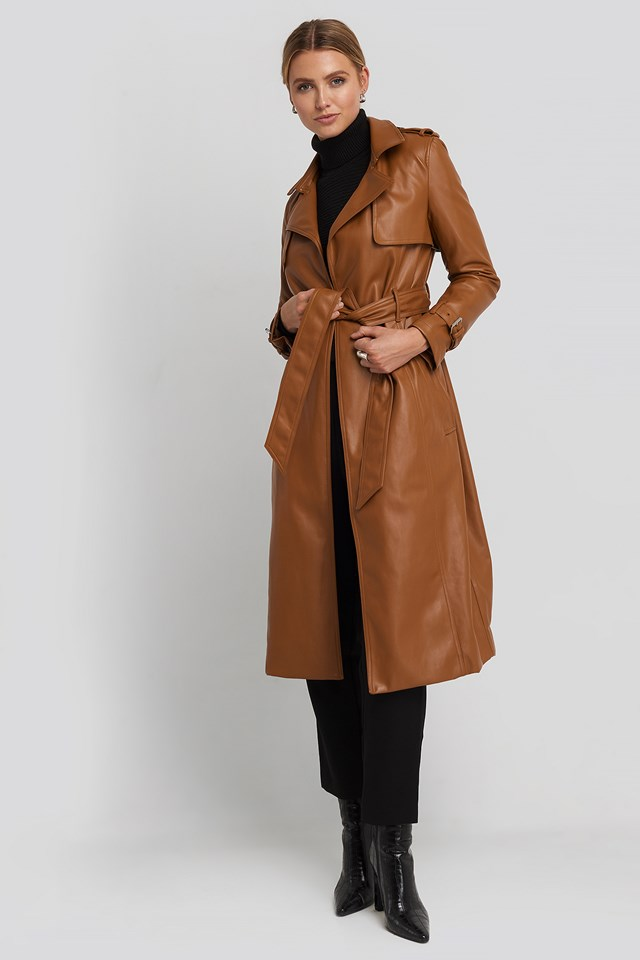 Faux Leather Trenchcoat Cognac