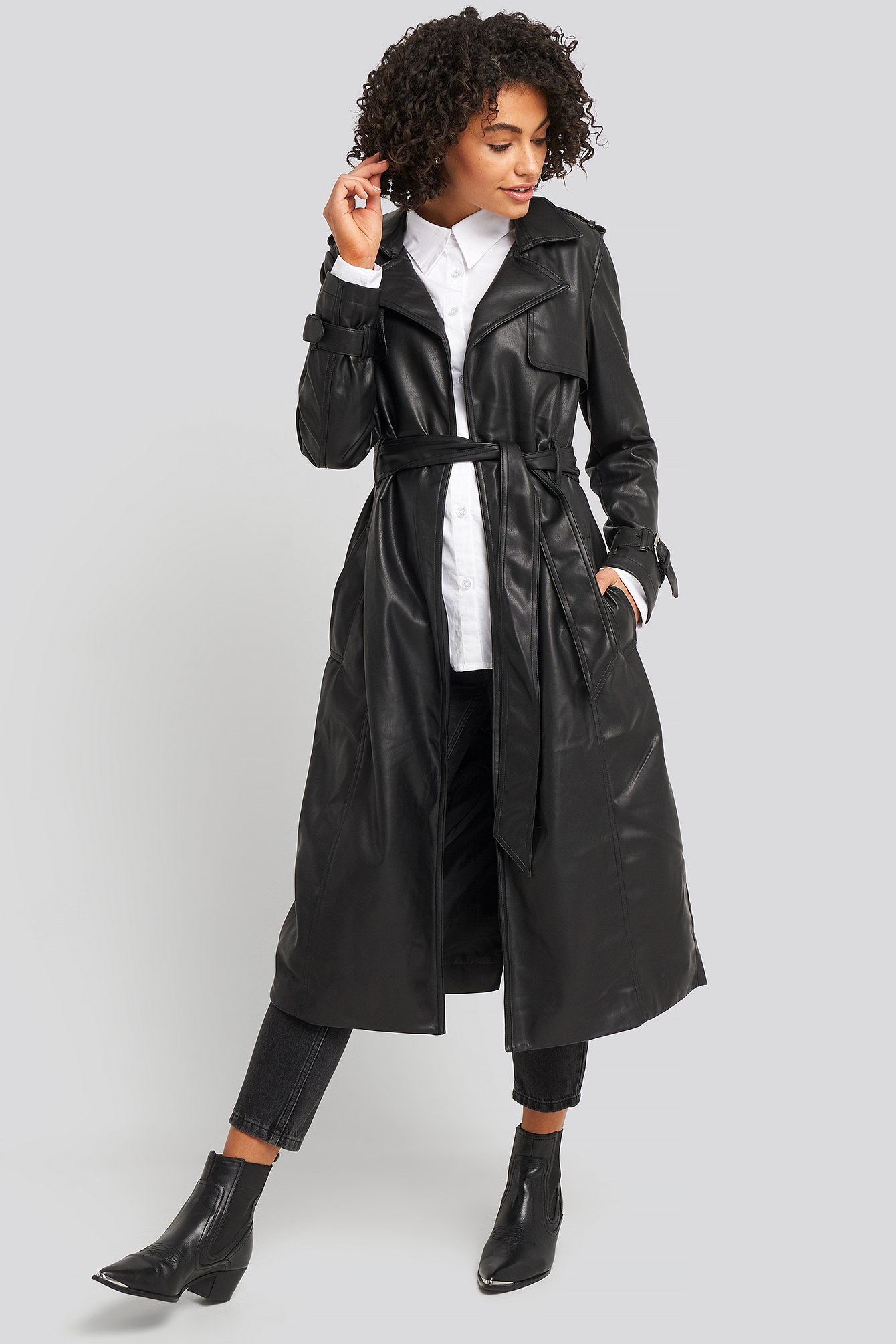 na-kd trend -  Faux Leather Trenchcoat - Black
