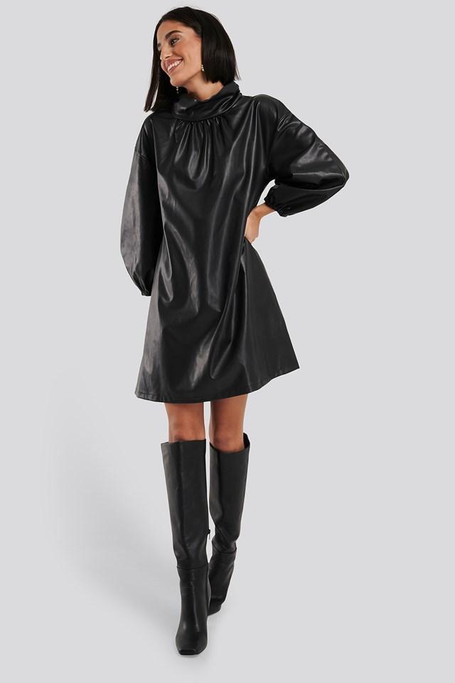 Faux Leather Full Volume Mini Dress Black