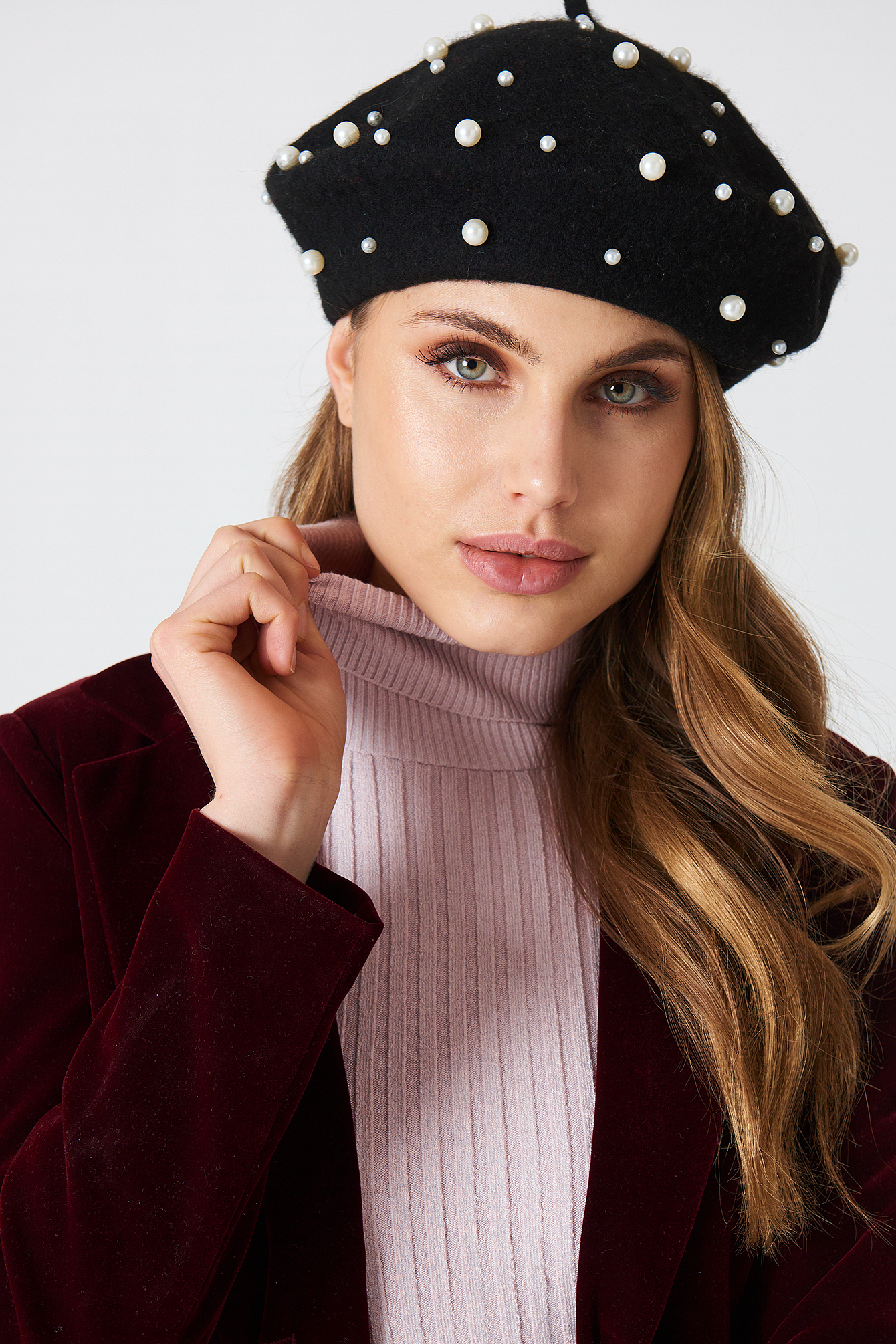na-kd accessories -  Faux Pearl Beret Hat - Black