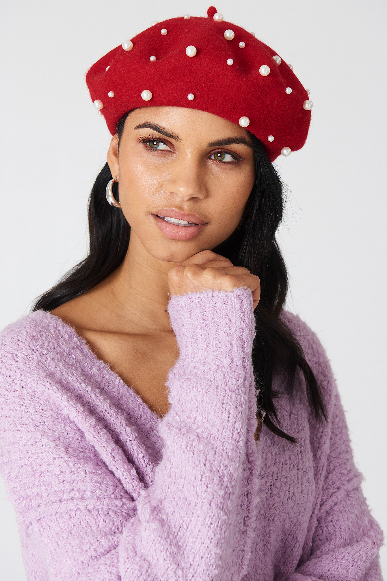na-kd accessories -  Faux Pearl Beret Hat - Red
