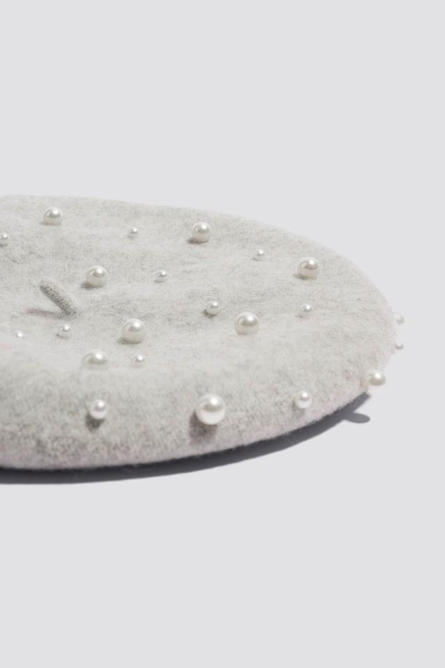 Faux Pearl Beret Hat Light Grey
