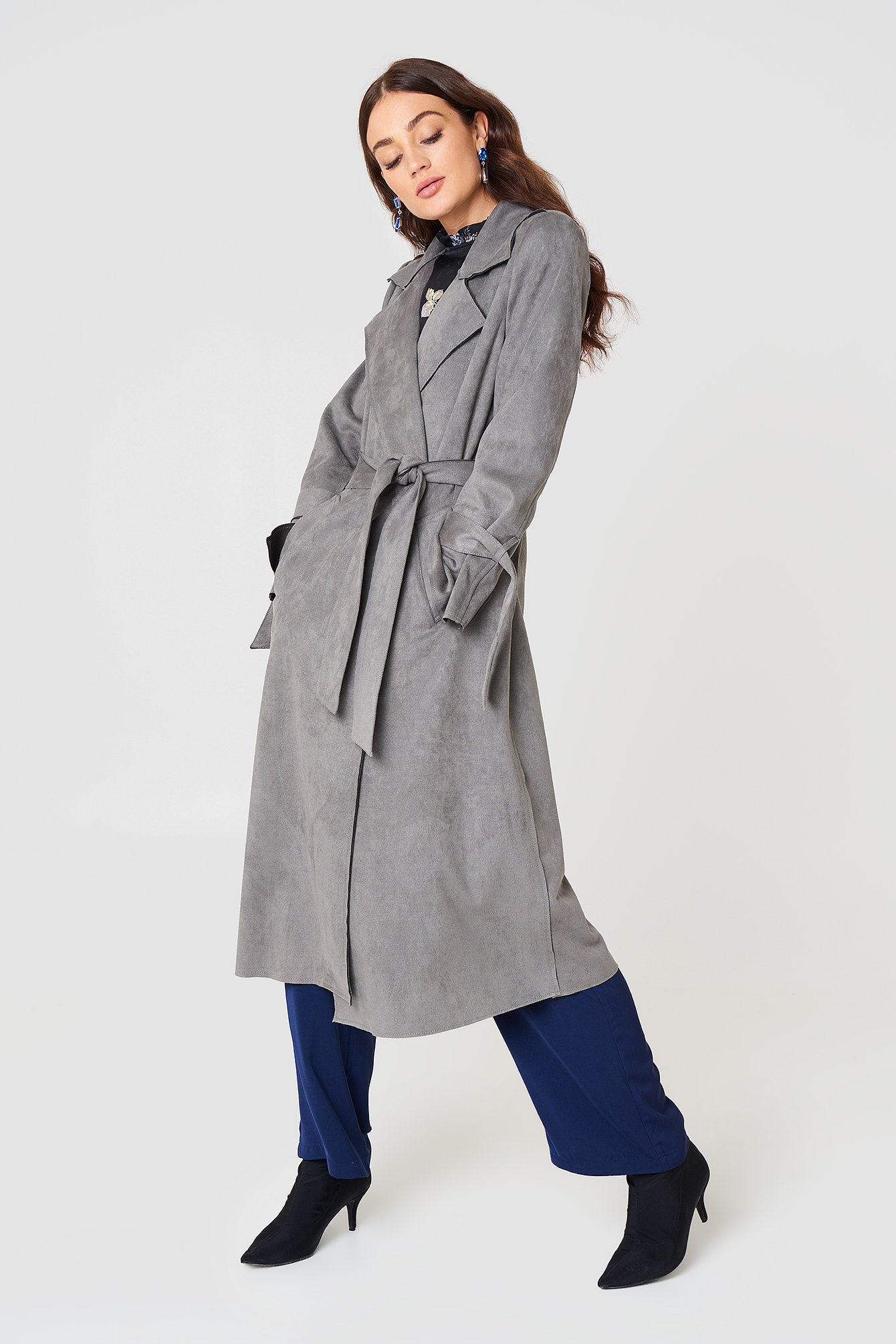 na-kd -  Faux Suede Bonded Trenchcoat - Grey
