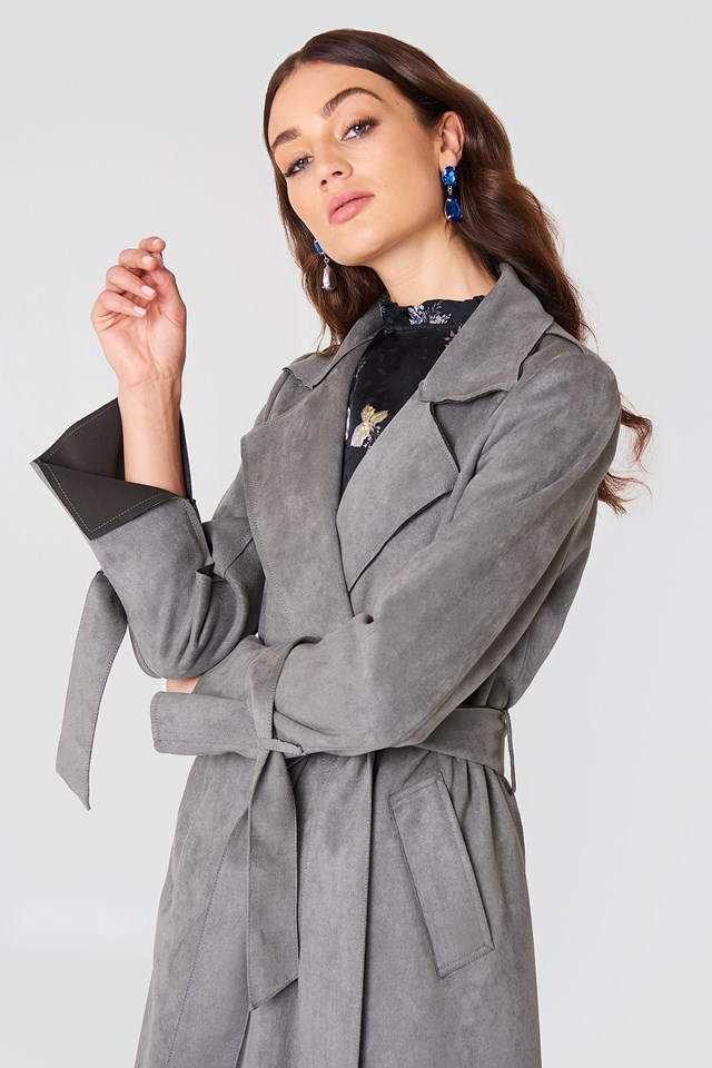 Faux Suede Bonded Trenchcoat Grey