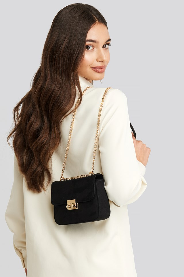 Faux Suede Chain Bag Black