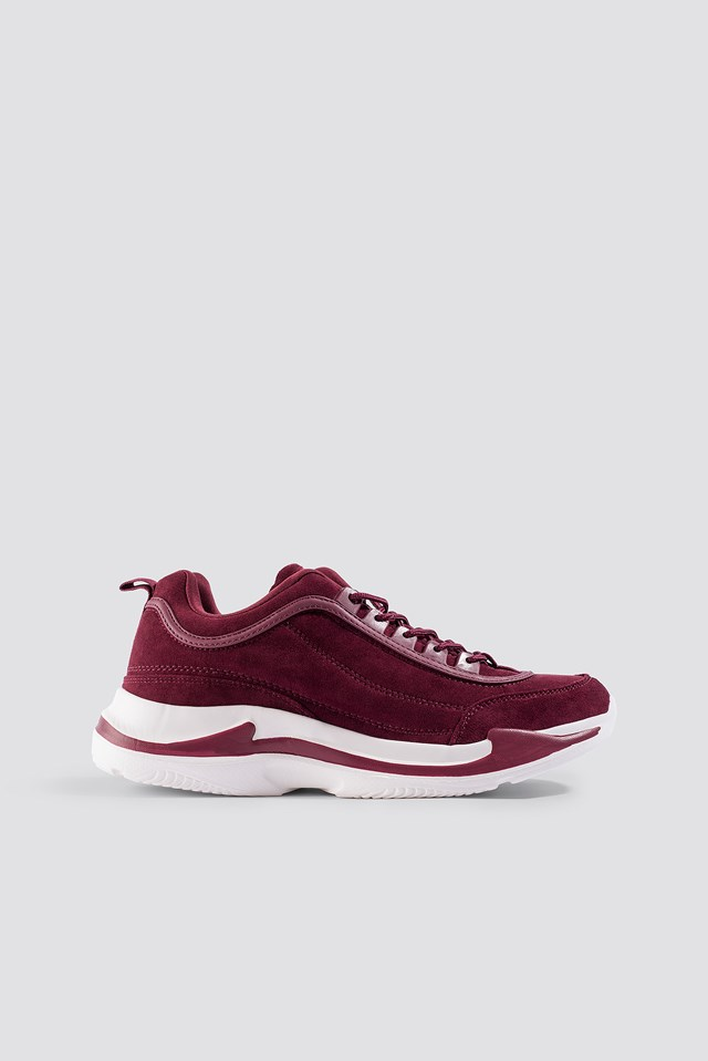 Faux Suede Chunky Trainers Burgundy