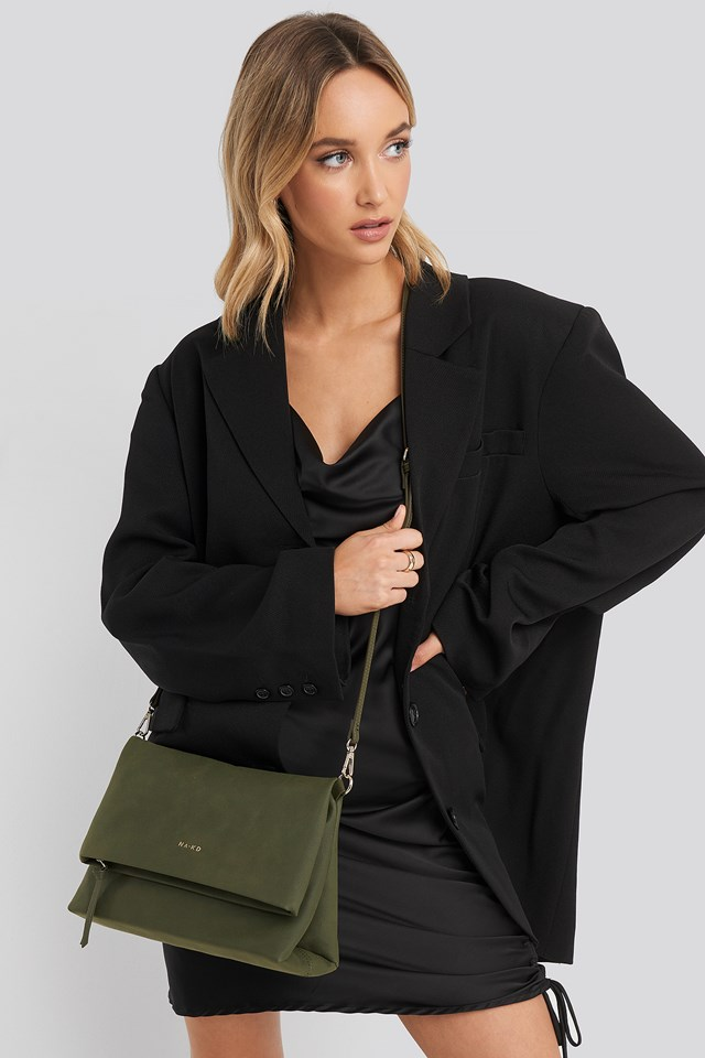 Faux Suede Flap Over Bag Green