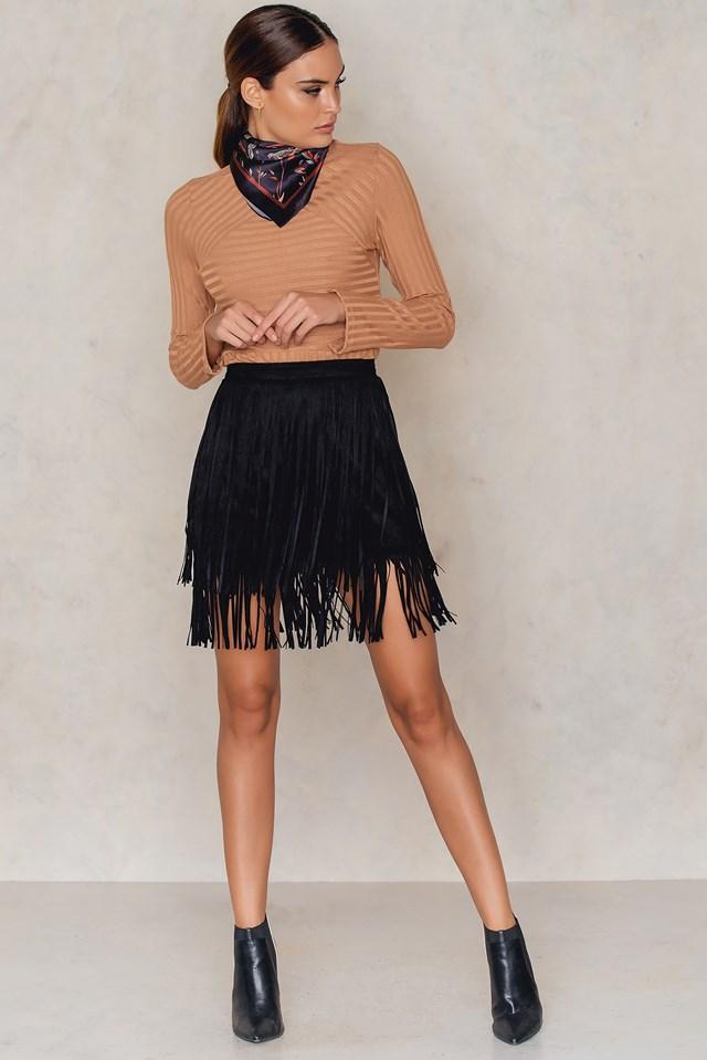 Faux Suede Fringe Skirt Black